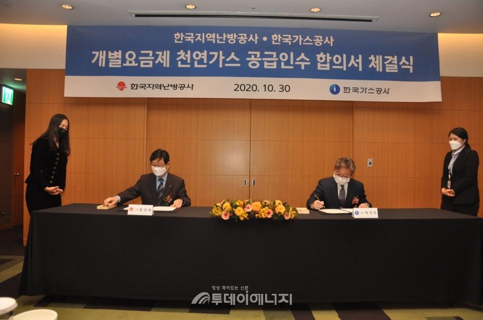채희봉 한국가스공사 사장(우)과 황창화 한국지역난방공사 사장이 협약서에 서명하고 있다.